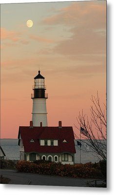 Moon Over Portland Head Lighthouse Metal Print