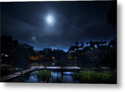 Moon Over The River Metal Print by Mark Andrew Thomas