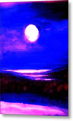 moon over the Stillwater river  Metal Print by FeatherStone Studio Julie A Miller