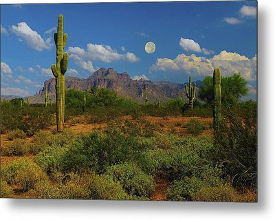Moon Over The Superstition Mtn Metal Print by Brian Lambert