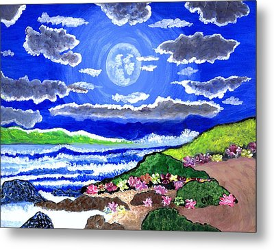 Moon Over The Tropics  Metal Print by Connie Valasco
