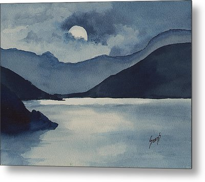 Moon Over The Water Metal Print