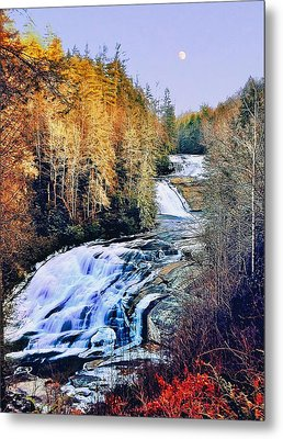 Moon Over Triple Falls Metal Print