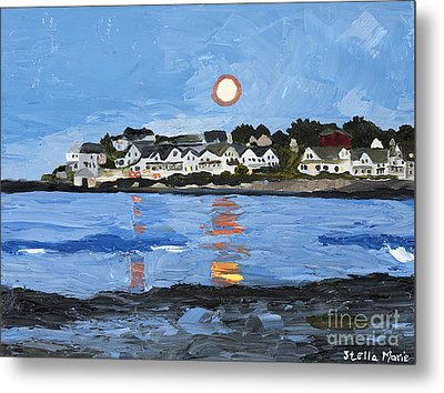 Moon Over York Beach Metal Print by Stella Sherman