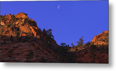 Moon Over Zion Metal Print by Chad Dutson