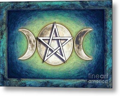 Moon Pentagram - Tripple Moon 2 Metal Print