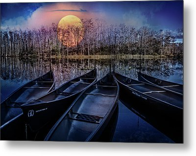 Metal Print featuring the photograph Moon Rise On The River by Debra and Dave Vanderlaan