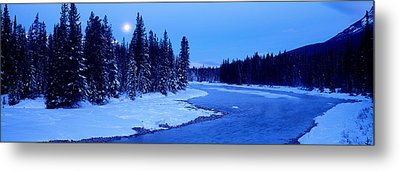 Moon Rising Above The Forest, Banff Metal Print by Panoramic Images