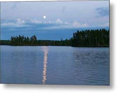 Moon Rising Over Lake One, Water Metal Print by Panoramic Images
