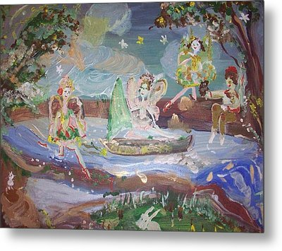 Metal Print featuring the painting Moon River Fairies by Judith Desrosiers