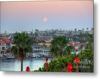 Metal Print featuring the photograph Full Moon Setting In Corona Del Mar by Eddie Yerkish
