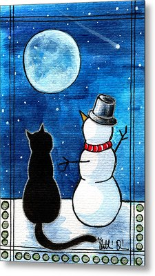 Moon Watching With Snowman - Christmas Cat Metal Print