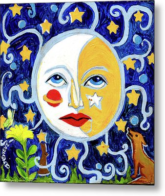 Metal Print featuring the painting Moonface With Wolf And Stars by Genevieve Esson