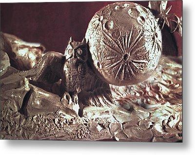 Moonhorse Detail Owl And Moon Metal Print by Dawn Senior-Trask