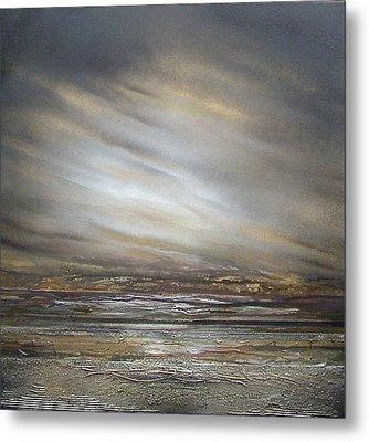 Moonlight And  Driftwood Series Druridge Bay Metal Print by Mike   Bell