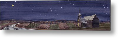 Metal Print featuring the painting Moonlight And School by Scott Kirby