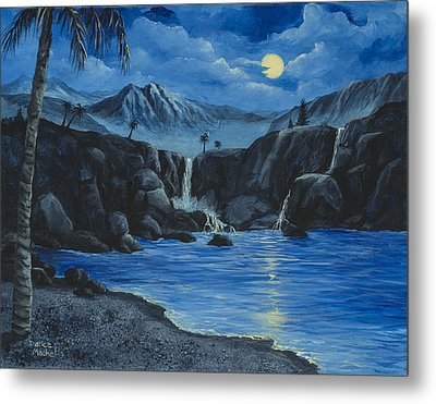 Metal Print featuring the painting Moonlight And Waterfalls by Darice Machel McGuire