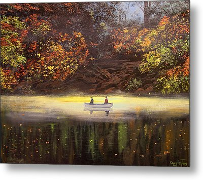 Moonlight Canoeing Metal Print by Connie Tom