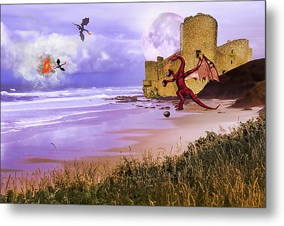 Metal Print featuring the photograph Moonlight Dragon Attack by Diane Schuster