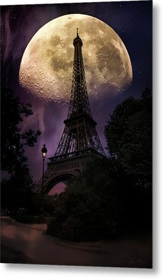 Moonlight In Paris Metal Print by John Rivera