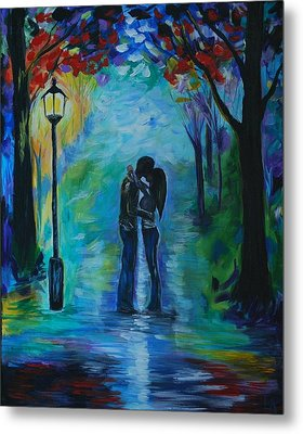 Metal Print featuring the painting Moonlight Kiss by Leslie Allen