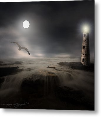 Moonlight Lighthouse Metal Print by Lourry Legarde
