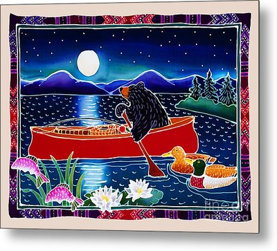 Moonlight On A Red Canoe Metal Print by Harriet Peck Taylor