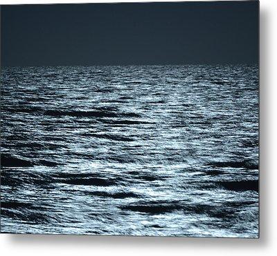 Moonlight On The Ocean Metal Print by Nancy Landry
