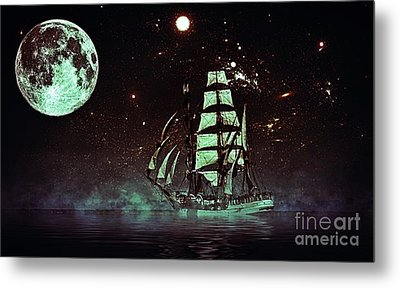 Moonlight Sailing Metal Print