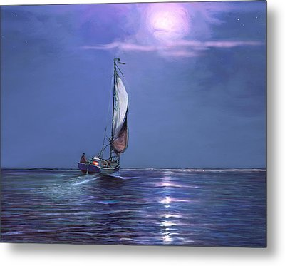 Moonlight Sailing Metal Print by David  Van Hulst