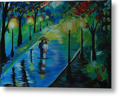 Metal Print featuring the painting Moonlight Stroll by Leslie Allen