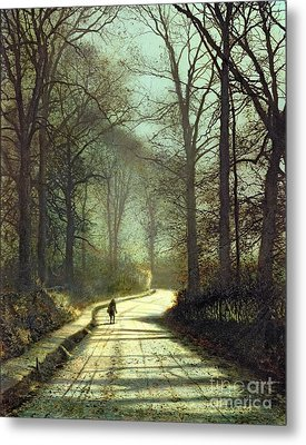 Moonlight Walk Metal Print by John Atkinson Grimshaw
