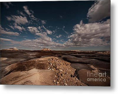 Metal Print featuring the photograph Moonlit Badlands by Melany Sarafis