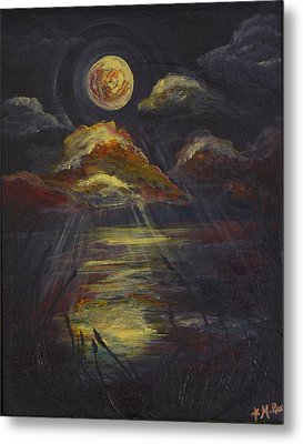 Moonlit Beach Guam Metal Print