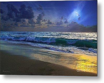 Moonlit Beach Seascape Treasure Coast Florida C4 Metal Print