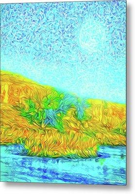 Metal Print featuring the digital art Moonlit Island Blue - Boulder County Colorado by Joel Bruce Wallach