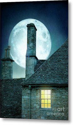 Metal Print featuring the photograph Moonlit Rooftops And Window Light  by Lee Avison
