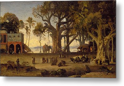 Moonlit Scene Of Indian Figures And Elephants Among Banyan Trees Metal Print by Johann Zoffany