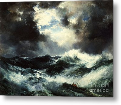Moonlit Shipwreck At Sea Metal Print