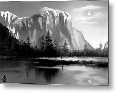Moonlit Yosemite Lake Metal Print