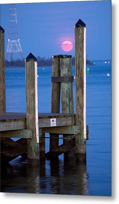 Metal Print featuring the photograph Moonrise Dock by Jennifer Casey