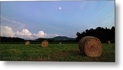 Moonrise Hayfield Metal Print