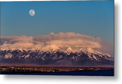 Moonrise Over Mount Blanca Winter San Luis Valley Colorado Metal Print
