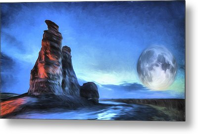 Metal Print featuring the digital art Moonrise Over Castle Rock by JC Findley