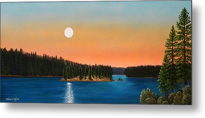 Moonrise Over The Lake Metal Print