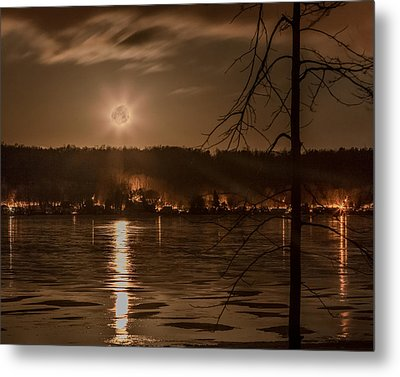 Moonset On Conesus Metal Print