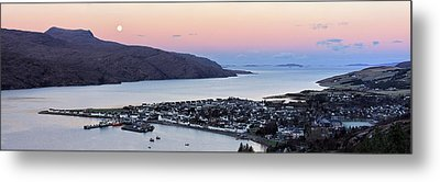 Moonset Sunrise Over Ullapool Metal Print by Grant Glendinning