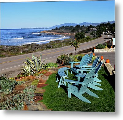 Metal Print featuring the photograph Moonstone Beach Seat With A View by Barbara Snyder