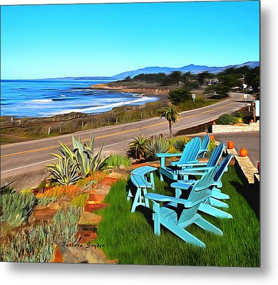 Metal Print featuring the photograph Moonstone Beach Seat With A View Digital Painting by Barbara Snyder
