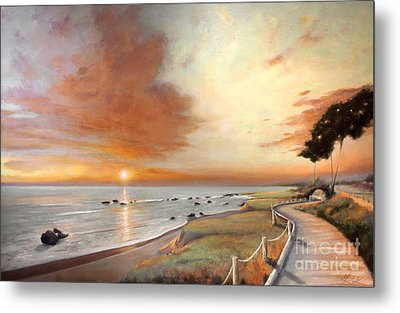 Moonstone Cambria Sunset Metal Print by Michael Rock